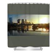 Austin Hike And Bike Trail - Pfluger Pedestrian Bridge - Fog Lifting Bright Panorama Shower Curtain