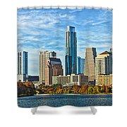 Austin Skyline Panorama Shower Curtain