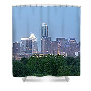 Austin Texas Building Skyline After The The Lights Are On Shower Curtain