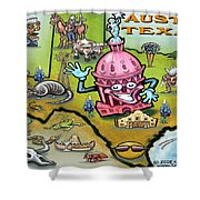 Austin Texas Cartoon Map Shower Curtain