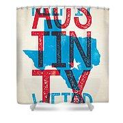 Austin Poster - Texas - Keep Austin Weird Shower Curtain by Jim Zahniser