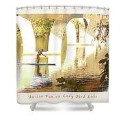 Austin Texas - Lady Bird Lake - Mid November Three - Greeting Card Shower Curtain by Felipe Adan Lerma