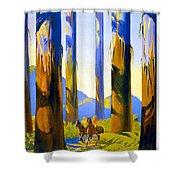 Australia - The Tallest Trees In The British Empire - Marysville, Victoria - Retro Travel Poster Shower Curtain