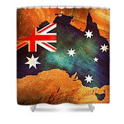 Australian Flag On Rock Shower Curtain