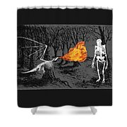 Australopithecus And The Dragon Shower Curtain