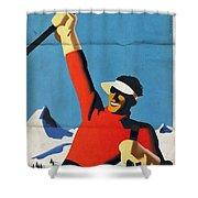Austria Ski Tourism - Vintage Poster Folded Shower Curtain