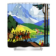 Austria Vintage Travel Poster Shower Curtain