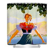 Austria, Young Woman In Traditional Dress Invites You, Danube River Shower Curtain