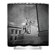 Authority Statue At The Courthouse In Memphis Tennessee Shower Curtain
