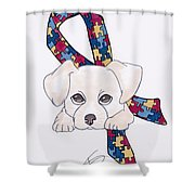 Autism Awareness And Puppy Love Shower Curtain