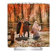 Autumn - People - A Walk In The Countryside Shower Curtain