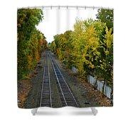 Autumn Along The Tracks Shower Curtain