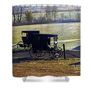Autumn Amish Horse Buggy Shower Curtain