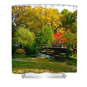 Autumn At Lafayette Park Bridge Landscape Shower Curtain
