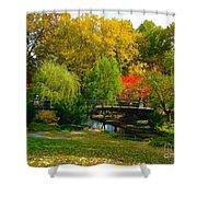 Autumn At Lafayette Park Bridge Landscape Shower Curtain