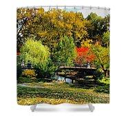 Autumn At Lafayette Park Bridge Square Shower Curtain
