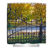 Autumn At The Gates Of Lafayette Park Portrait Shower Curtain