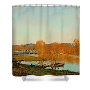 Autumn Banks Of The Seine Near Bougival Shower Curtain