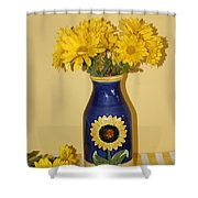 Autumn Blossoms And Blue Vase Shower Curtain