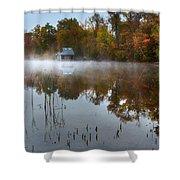Autumn Boathouse Shower Curtain