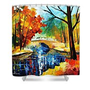 Autumn Calm 2 - Palette Knife Oil Painting On Canvas By Leonid Afremov Shower Curtain