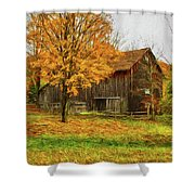 Autumn Catskill Barn Shower Curtain
