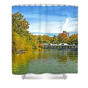 Autumn Central Park Lake And Boathouse Shower Curtain