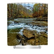 Autumn Cherry Falls Elk River Shower Curtain