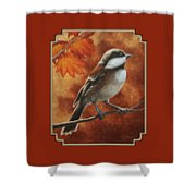 Autumn Chickadee Shower Curtain by Crista Forest