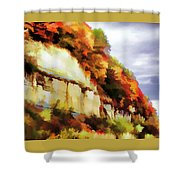Autumn Cliffs On Way To Hannibal, Missouri Shower Curtain