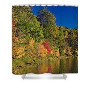 Autumn Color Trees Along Beauty Lake Shower Curtain
