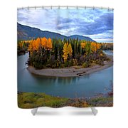 Autumn Colors Along Tanzilla River In Northern British Columbia Shower Curtain