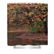 Autumn Colors By The Pond Shower Curtain