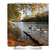 Autumn Colours At Sunbury On Thames Surrey Uk Shower Curtain
