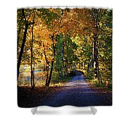 Autumn Country Lane Shower Curtain