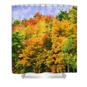Autumn Country On A Hillside II - Digital Paint Shower Curtain
