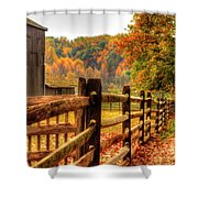 Autumn Fence Posts Scenic Shower Curtain