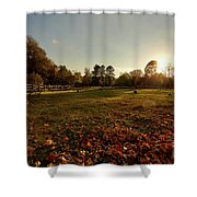 Autumn Field With Sheep Shower Curtain