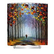 Autumn Fog 4 - Palette Knife Oil Painting On Canvas By Leonid Afremov Shower Curtain