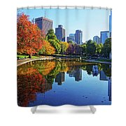 Autumn Foliage On The Boston Common Frog Pond Shower Curtain