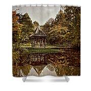 Autumn Gazebo Reflection Shower Curtain