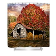 Autumn Hay Barn Shower Curtain
