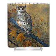 Autumn Highlights - Great Horned Owl Shower Curtain