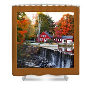 Autumn House At The Falls Shower Curtain
