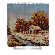 Autumn House By The Stream Shower Curtain