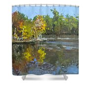 Autumn In The Rock Quarry Shower Curtain