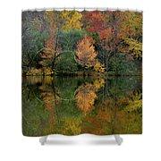 Autumn Lagoon Reflection  Shower Curtain