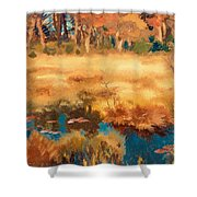 Autumn Landscape With Fox Shower Curtain
