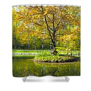 Autumn Landscape With Red Tree Shower Curtain