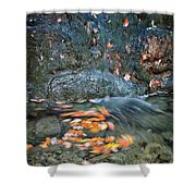 Autumn Leaves In Waterfall Shower Curtain